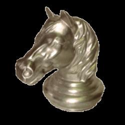 Tête de cheval en aluminium.